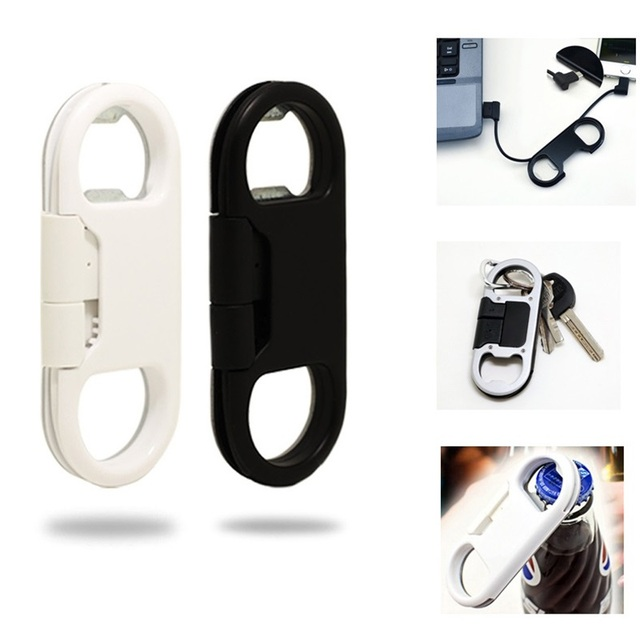 3 in 1 beer bottle opener keychain Data Cable USB Charging Cable Portable Multifunction Data Cable for IOS/Andorid Phone Iphone
