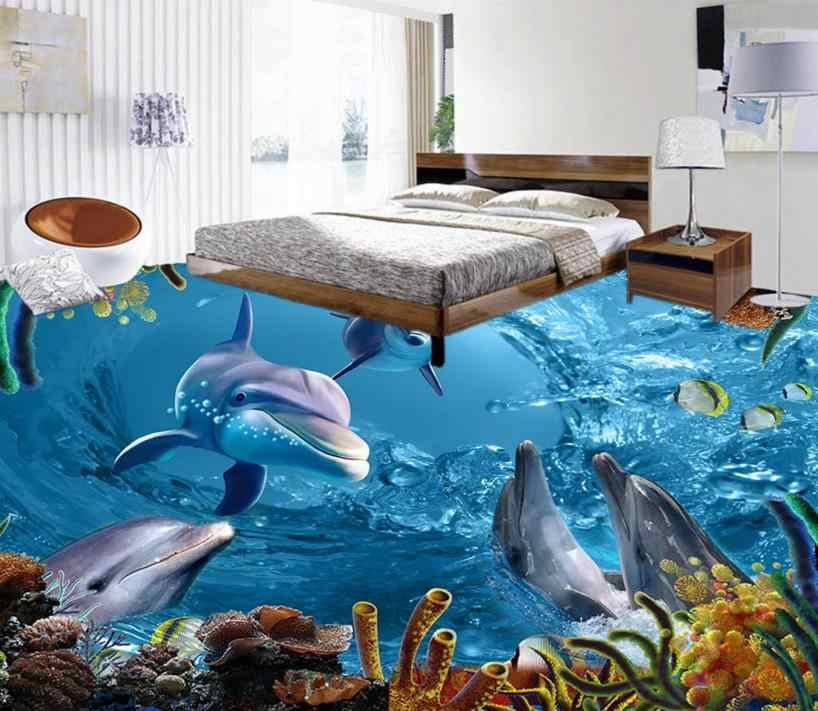 Custom 3d Flooring Dolphin Lagoon 3d Wallpaper Floor PVC Self-adhesive Non-slip Wear 3d Photo Wallpaper