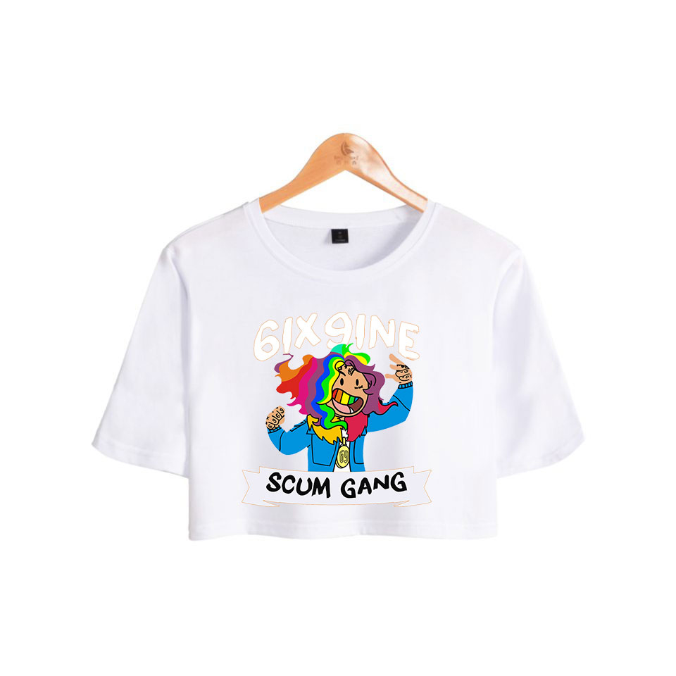 1 6ix9ine Fashion Rapper Printed Women Crop Tops Summer Short Sleeve Casual Tshirts 2018 Casual Girls Hip Hop Sexy Tee Shirts