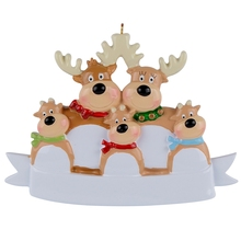 Reindeer Family Of 5 Resin Hanging Personalized Christmas ornaments As For Holiday or New Year Gifts Home Decoration
