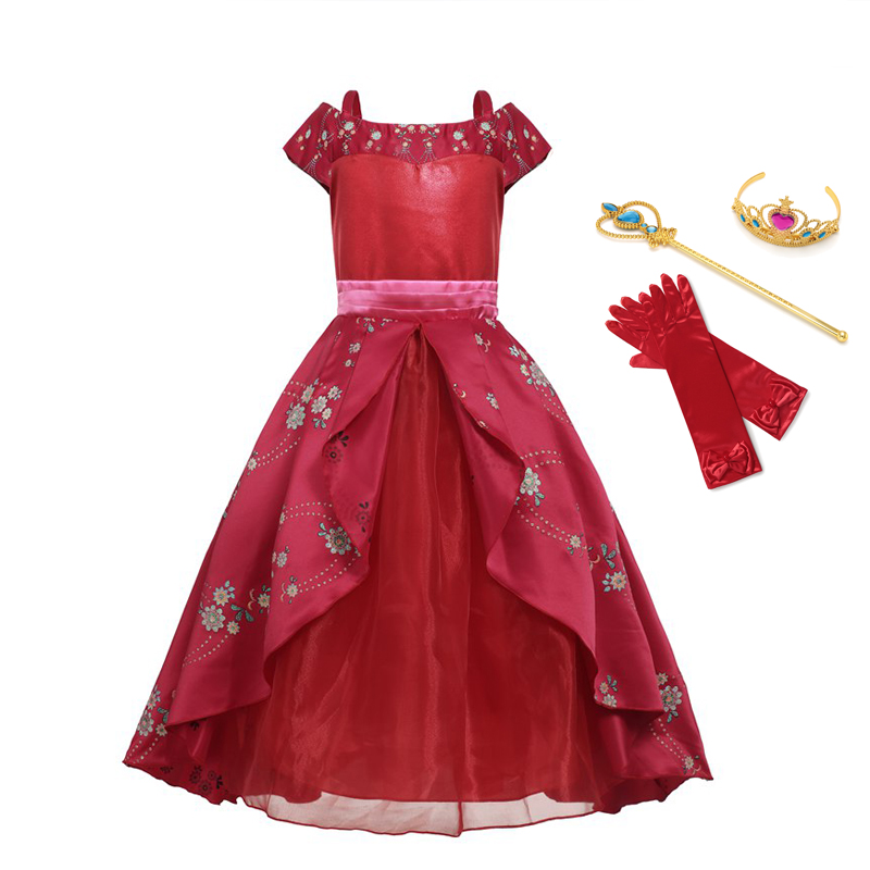VOGUEON Deluxe Elena Costume for Girls Kids Sleeveless off Shoulder Elena of Avalor Princess Party Cosplay Fancy Evening Dress