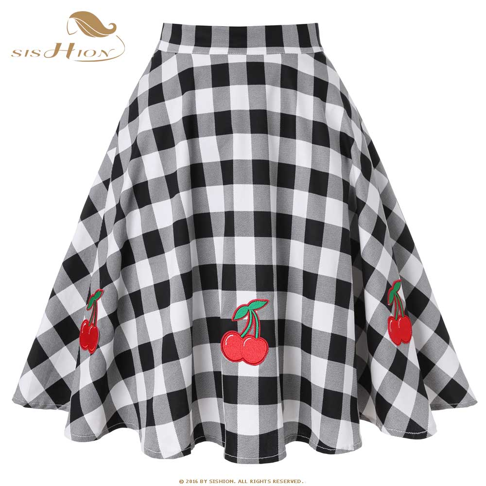 2d6c4c23c SISHION Black Skirt Women High Waist Plus Size Floral Print Polka Dot  Ladies Plaid Skirts Skater