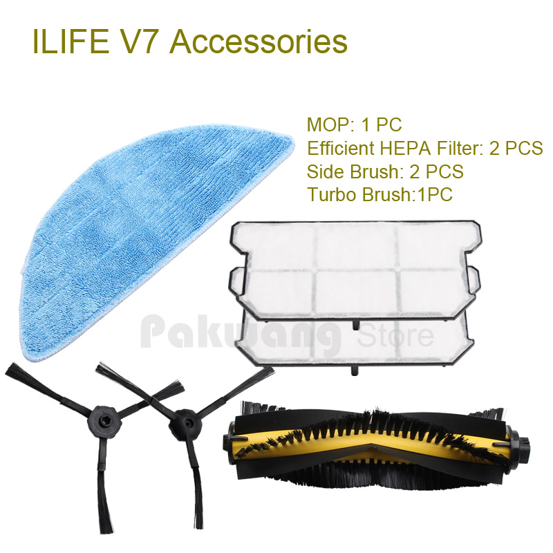 Original ILIFE V7 Robot Vacuum Cleaner Accessories Efficient HEPA Filter and Side brush, Turbo brush and Mop from the factory original ilife v7 primary filter 1 pc and efficient hepa filter 1 pc of robot vacuum cleaner parts from factory