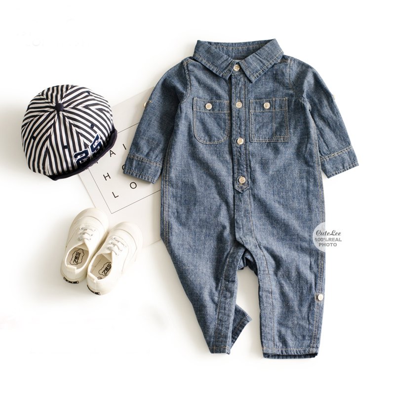 6-24M baby boy romper Gentleman jumpsuit solid newborn clothes casual cowboy Costume fashion Denim baby boy clothes bebek tulum 2017 floral baby romper newborn baby girl clothes ruffles sleeve bodysuit headband 2pcs outfit bebek giyim sunsuit 0 24m