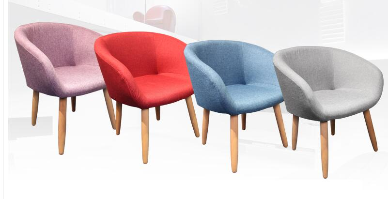 Solid wood fabric back chair. Guest restaurant club single sofa chair the nordic chair solid wood chair cloth art single person sofa chair