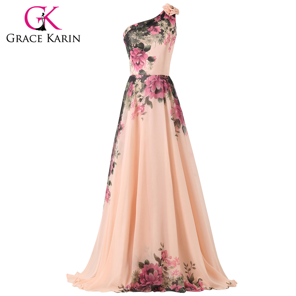 Grace Karin 2018 Robe De Soiree Chiffon Flower Printed   Evening     Dresses   Mixed Style Floor Length Party Gown Formal Prom   Dress
