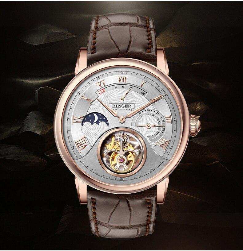 Suíça binger relógios men luxo gaivota automático