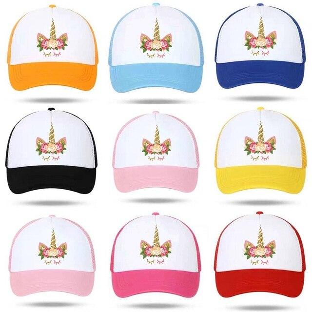 804b5cc60 US $3.08 33% OFF|Kids Embroidery Unicorn Baseball Cap Black White Mesh Sun  Hat Adjustable Cotton Snapback Cap-in Baseball Caps from Apparel ...