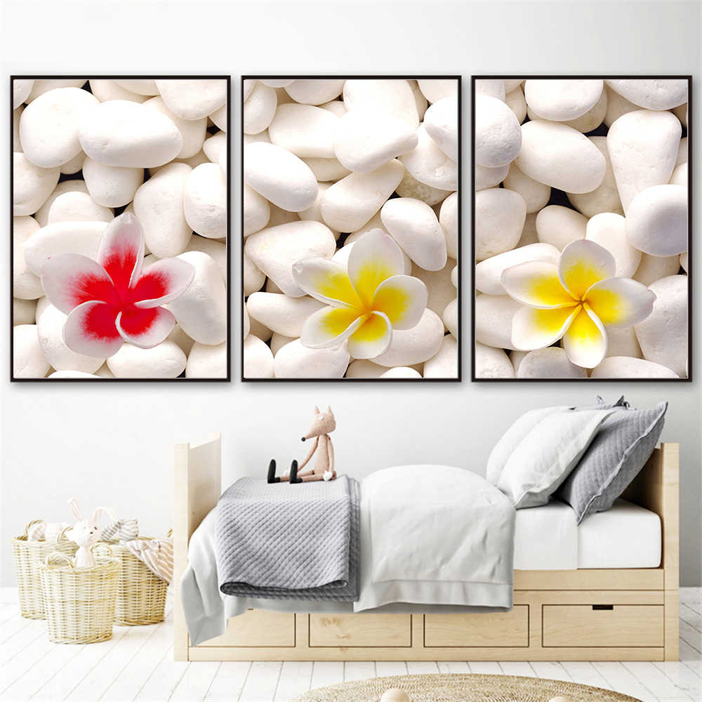 Nordic Posters And Prints Stone Flowers Orchid Zen Artistic Wall Art Modular Pictures White Flower Scandinavian Decoration
