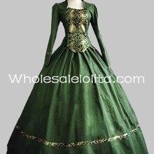 Два предмета зеленый хлопок и парчовый Готический викторианский бальное платье период платье театральная одежда