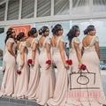 Vestido де феста де casamento экипажа декольте Cap рукавом черный сексуальная длинные платья невесты розовый открытой спиной простой длинные платья