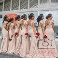 Vestido de festa de casamento tripulação decote Cap Sleeve preto Sexy longo da dama de honra vestidos rosa abrir voltar simples longos vestidos