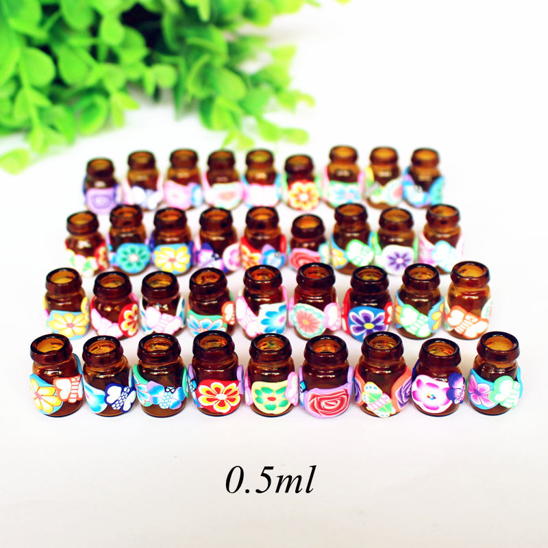 10pcs/Pack DIY 0.5ml Jewelry Polymer Clay Glass Essential Oil Bottle Small Pendant Wishing Bottles Mini Perfume Vials