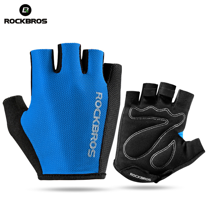 ROCKBROS Half Finger Hiking Gloves Cycling Bicycle Bike Gloves Sport Climbing 3D Pad Profession Tactical Fitness Running Gloves