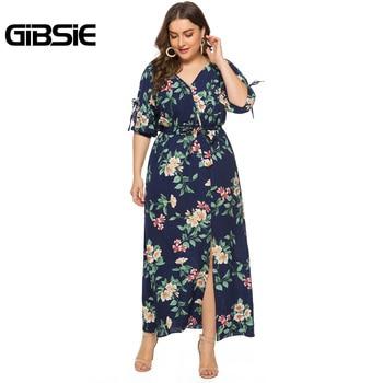 GIBSIE Plus Size V-neck Slit Sleeve Floral Print Long Dress Women Holiday Beach Style Short Sleeve Maxi Summer Dress with Belt