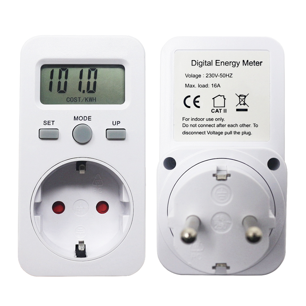 AC 230V 16A 3680W EU Plug Digital Power Monitor Energy Meter Wattmeter LCD Watt Meters Detector W KWH Price COST/KWH Display|Power Meters| |  - title=