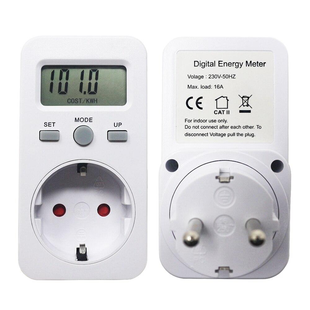 Moniteur d'alimentation numérique, AC 230V 16A 3680W prise EU, moniteur d'alimentation numérique, wattmètre à énergie, mètres de Watt LCD, détecteur avec prix KWH/affichage