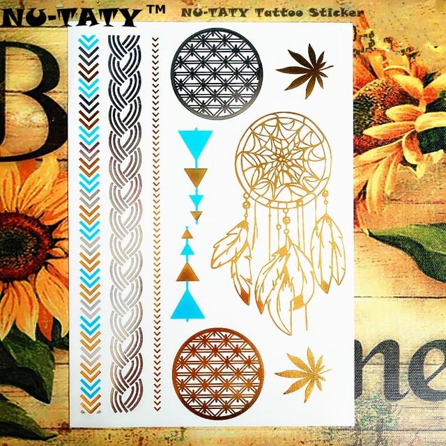 NU-TATY 24 Style Temporary Tattoo Body Art, Dreamcatcher Golden Round Designs, Flash Tattoo Sticker Keep 5 Waterproof 21x15cm
