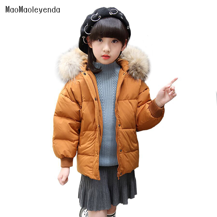 Kids Girls Winter Jackets 2017 Fashion Thickening Hooded Girls Outerwear Children Warm Parkas Girl White Duck Down Jacket a01 fashion girl thicken snowsuit winter jackets for girls children down coats outerwear warm hooded clothes big kids clothing gh236