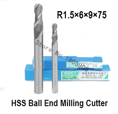 10PCS lengthening R1.5 high speed steel ball end milling cutter, straight shank white steel cutter, R alloy milling cutter