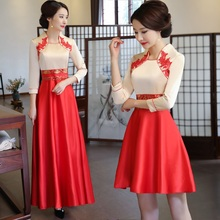 Китайский стиль для женщин тонкий Cheongsam классический Улучшенный Qipao элегантный вечернее платье традиционные невесты свадебные платья