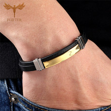 2019 Trendy Man Leather Bracelets Bangles Male Accessories Jewelry Black Leather Bracelet pulseras hombre armband mannen general use trendy outdoor sports armband black