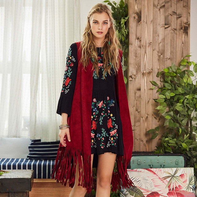 Bohoartist mujeres otoño primavera chaleco Boho tejido largo Cardigan sin  mangas abrigo mujer Casual suéter chaleco 66fd1accf5b9