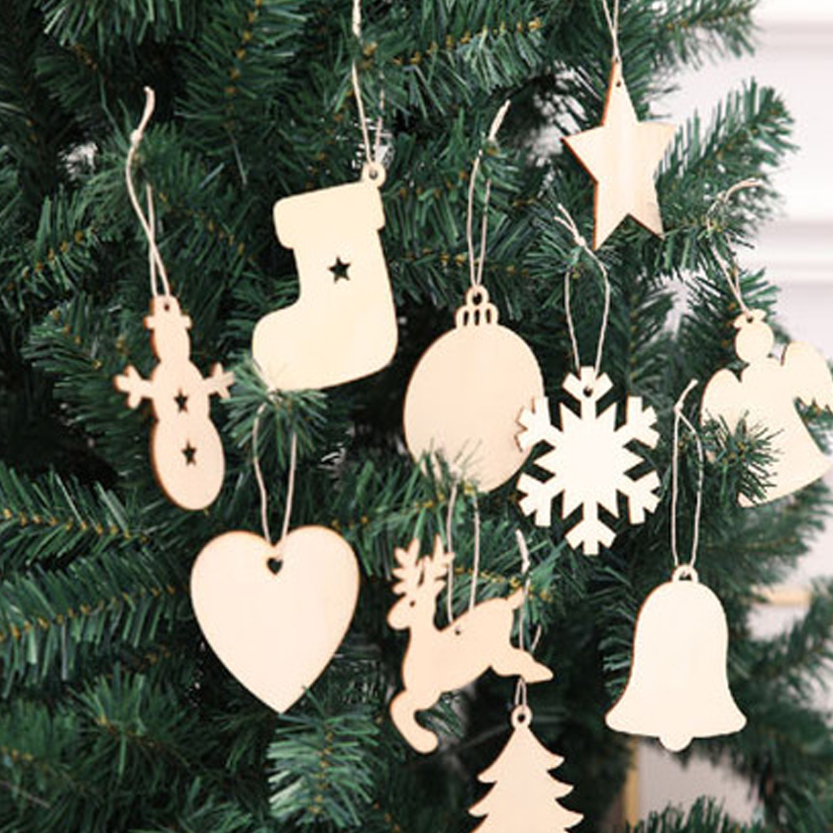 Aliexpresscom Buy 10pcsset Diy Wooden Shoes Ornaments Tree Santa Claus Boots Bells Christmas Tree Hanging Home Xmas Party Christmas Decorations