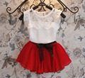 2016 лето детская одежда девочка кружева лук с коротким рукавом футболки и шифоновая юбка девушки костюмы для малыша набор