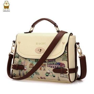 Handbag New 2017 Korean Fashion Small Women Messenger Bags Handbags Famous Brands Leather Cartoon Printing Cross Body In Shoulder From