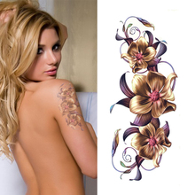 Waterproof Sexy Make Up Body Art Temporary Tattoo Stickers Chinese Orchid Flower Designs Tattoo Decals