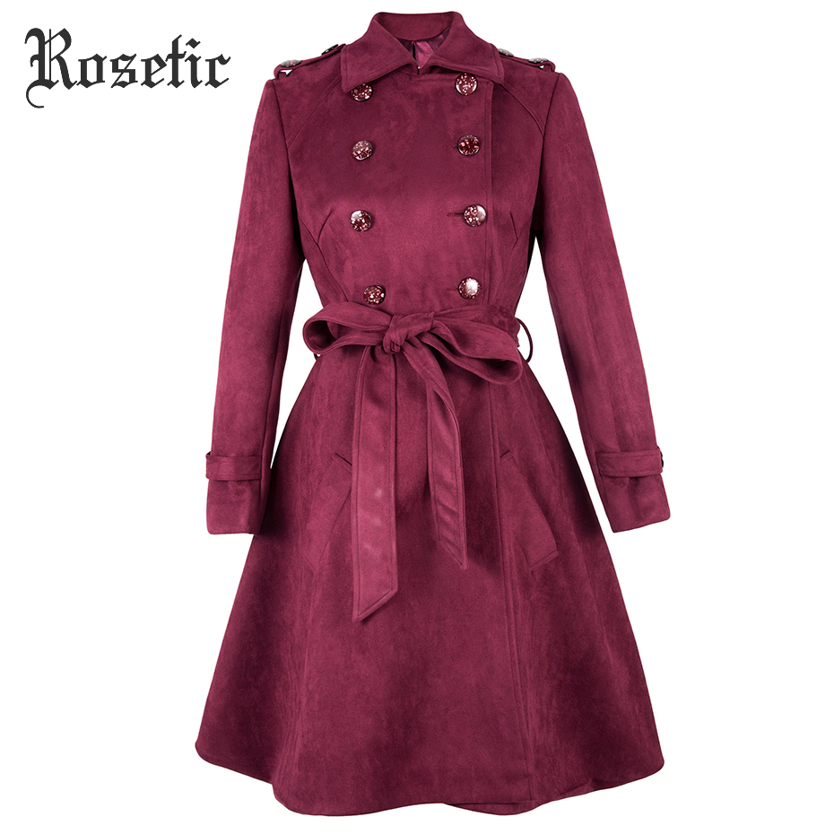 Rosetic Gothic Coat Vintage   Trench   Women Autumn Lace-Up Overcoats Bow Outerwear Retro Elegant Fashion Sexy Office Lady Goth Coat