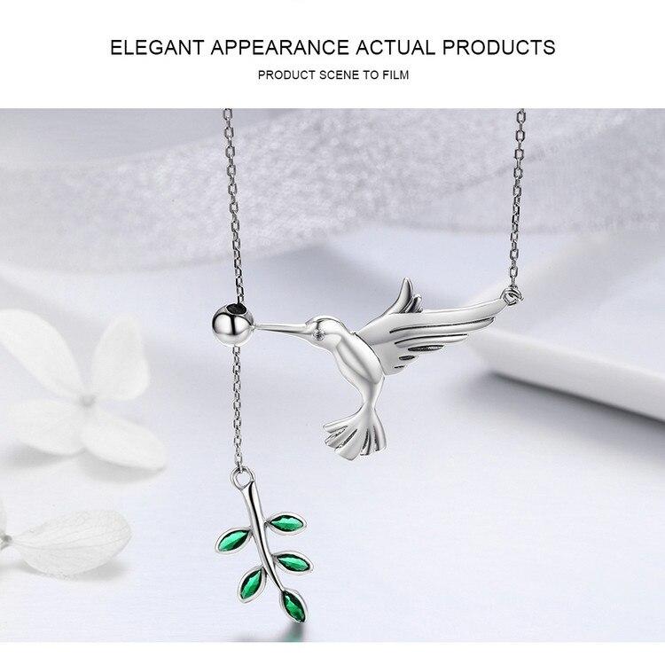 0ef9caf85442 Conjunto de joyas BISAER 925 pájaros de plata de ley colibrí Collar ...