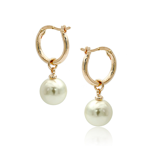 Earrings Hoop Earrings Glorious Real Brand Tracyswing Top Quality Pearl Earring Rose Gold Color Hoop Earring For Women New Sale Hot #rg82561gold Reliable Performance