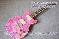 Classical Lifhtning Bolt Inlay Purple Quilted LP Standard Electric Guitar China Left Handed Custom Available