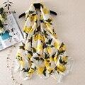 Luxury brand mujeres lemon foulard bufanda lindo de gran tamaño bufandas y pañuelo de seda pura femenina gran mantón largo de la marca de moda nueva