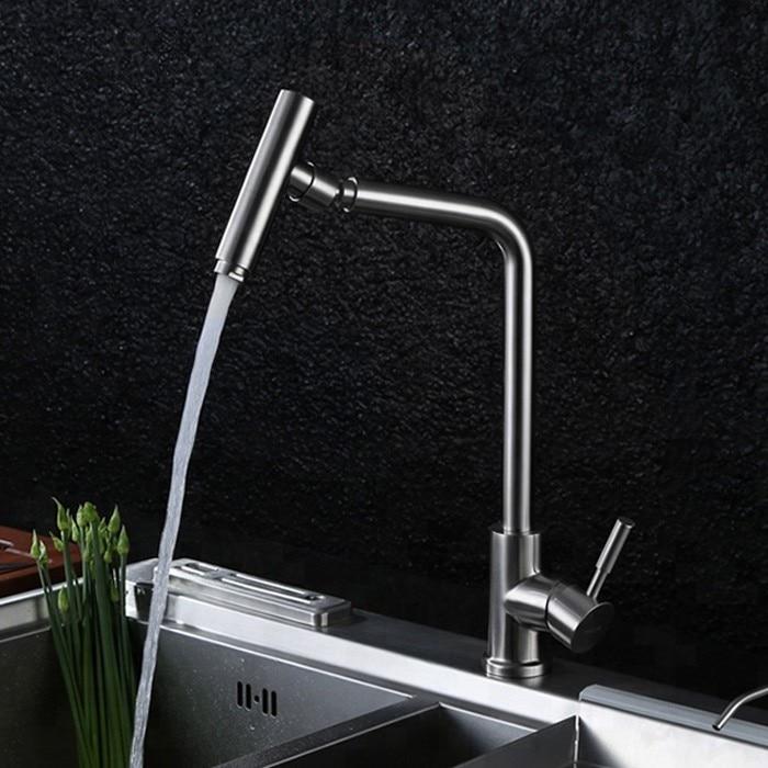 Robinet mitigeur de cuisine en acier inoxydable Precision 304 robinet d'eau froide et chaude, rotation de 360 degrés en nickel brossé