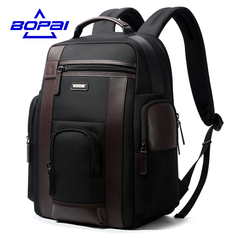 Bopai новый черный с карманами Для мужчин рюкзак Бизнес Твердые Нейлон Для мужчин Daypacks Mochila Сумки удобная зарядка через USB рюкзак Для женщин