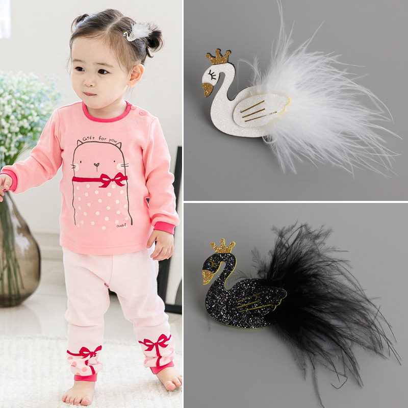 1 PCS Cute Cartoon Black And White Swan Baby Hairpins Kids Hair Clips Princess Barrette Girls Hair Accessories Children Headwear
