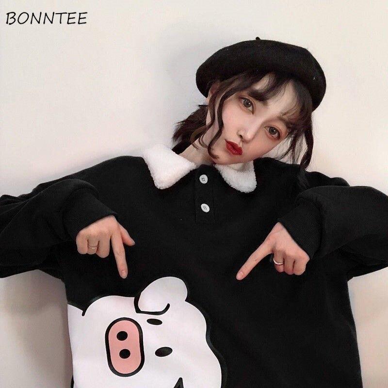 Hoodies Women Autumn Winter Trendy Korean Style Simple Casual Kawaii Ulzzang Cartoon High Quality Womens Clothing Chic Loose