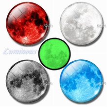 Luminous Full Moon 30 MM Magnet Fridge Notes Glass Dome Refrigerator Magnets Magnetic Stickers for Vintage DIY Home Decor