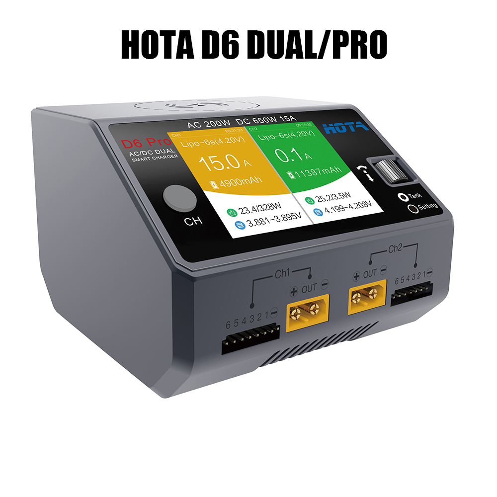 HOTA D6 Dual Pro Smart Charger AC200W DC650W 15A for Lipo LiIon NiMH Battery with iPhone