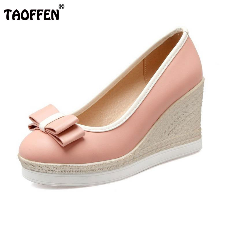 TAOFFEN Classic Brand Women Wedges High Heels Platform Round Toe Pumps Women Girls Bowtie Slip-on Zapatos Mujer Shoes Size 33-43 low cut women s shoes genuine leather slip on women pumps round toe platform high heels vintage women wedge shoes