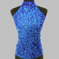 2016 Sale Women S Tank Top Fashion New Slim Sequins Halter Neck Women S Shimmer Flashy