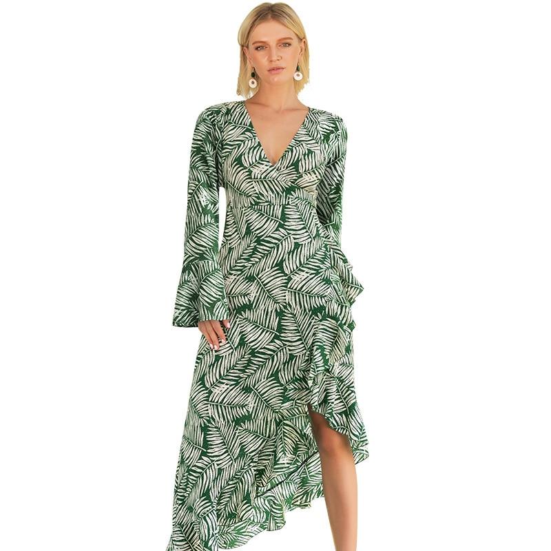 WHZHM Bohemian Summer Ruffles Printed Sexy Party Sleeve Dress Women Vadim Club Beach Party Jurk Ruffles