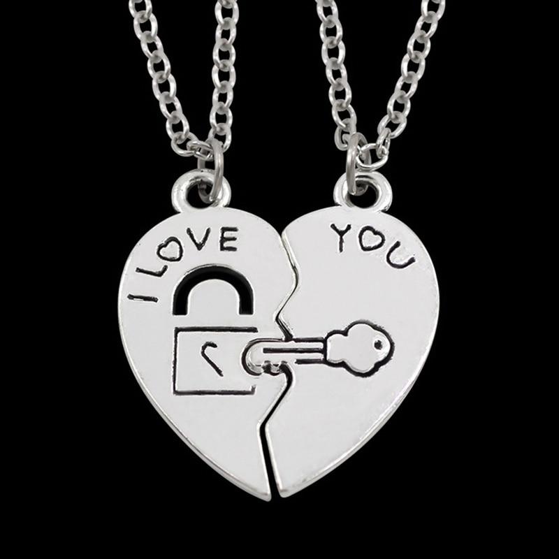 2Pcs/Set Best Friend Necklaces Pendants I Love You Heart Lock & Key Puzzle Necklace Women Fashion BFF Friendship Couple Jewelry