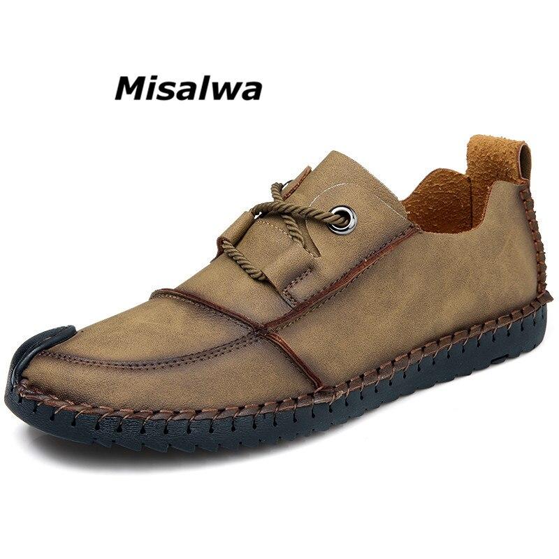 Misalwa 2018 Mens Mocassins En Cuir Noir Appartements Casual Marque De Luxe Hommes Chaussures Respirant Slip-On Mocassins Homme Chaussures de Baisse le bateau