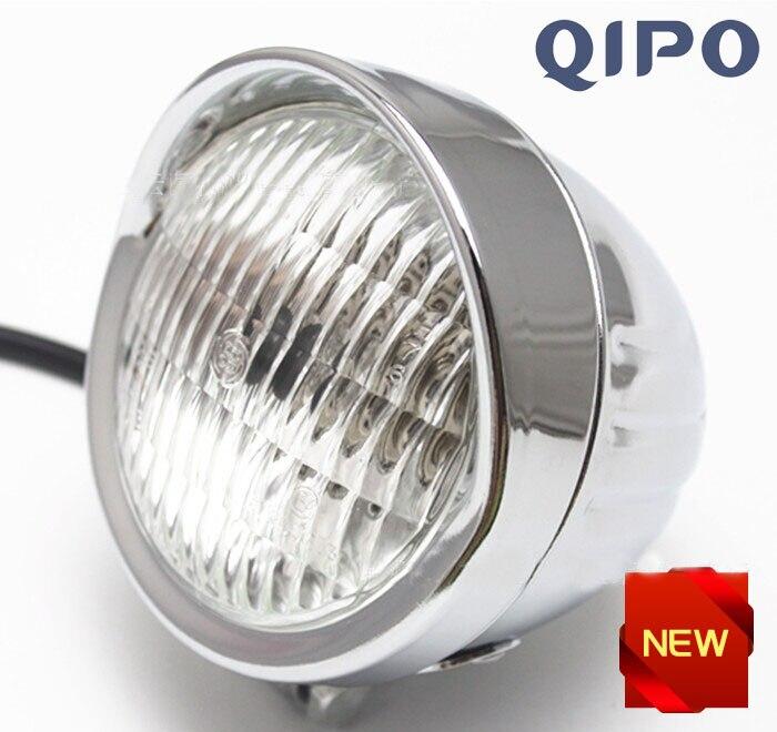 QIPO Chrome Moto Vintage Phare Auxiliaire Spot Brouillard Feu-Croisement avec Logement Anneau Support pour Harley Glisse