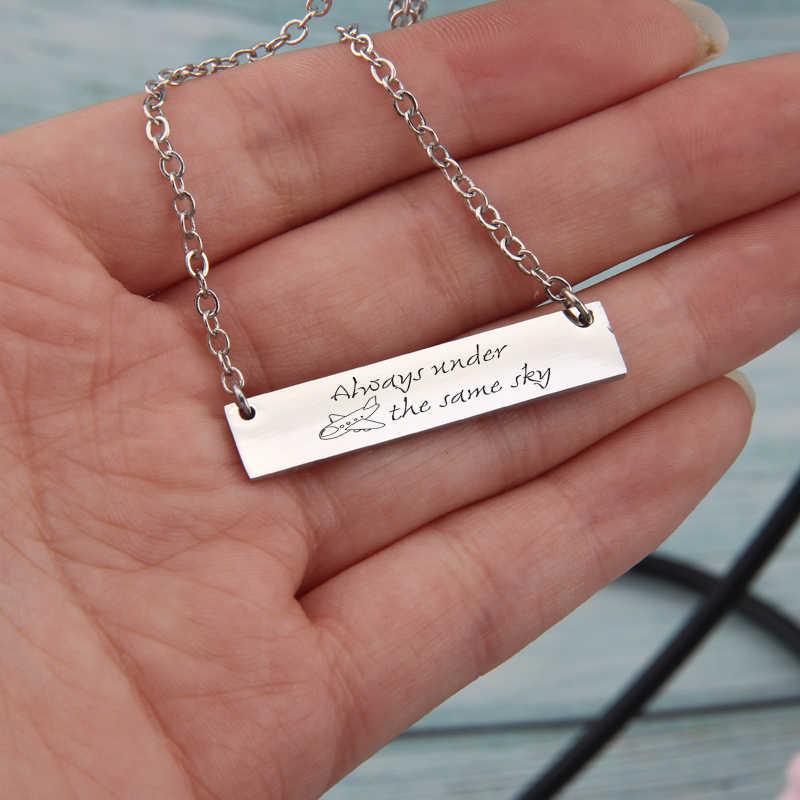 Женская Шейная цепочка, барное ожерелье, парные подарки, всегда под тем же небом, длинные расстояния, любовь, ювелирное ожерелье для девочки, ключица, ожерелье s