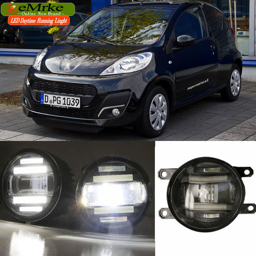 eeMrke Xenon White High Power 2in1 LED DRL Projector Fog Lamp With Lens For Peugeot 107 2012 - up цена